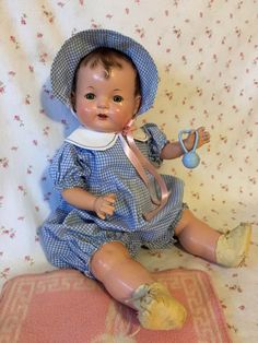"Rare 1925 Effanbee 16"" BABY EVELYN Composition Doll -- All Original With Pink Esmond Rabbit Blanket"