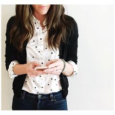 Black, white, and polka dots?! Yes, please! ⚫️ | #White perfect button up with onyx #dots , #black merino wool cardigan with chiffon ruffle, Reid matchstick jeans, and crystal cobblestone bracelet. @jcrew ❤️ #howtojcrew