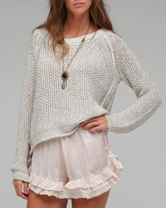 loose knit sweater and pretty frilly shorts