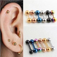 New Punk Barbell Earrings Silver Gold Black Stainless Steel Round Barbell Studs Earrings Ear Piercing Jewelry For Men Women