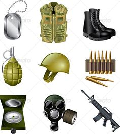 Army and Military Icons Set  #GraphicRiver         army and military icons detailed vector set   Zip file includes: - eps10, editable vector, RGB - jpg, 4940×5551px, RGB - psd, RGB     Created: 27August13 GraphicsFilesIncluded: PhotoshopPSD #JPGImage #VectorEPS Layered: No MinimumAdobeCSVersion: CS Tags: armament #army #automate #automatic #bodyarmor #bomb #bullet #camouflage #cartridge #compass #danger #explosive #force #gas #gear #green #grenade #gun #hat #helmet #icon #machinegun…