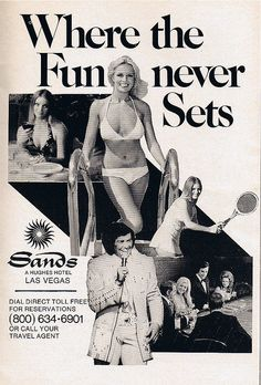 Where the Fun Never Sets...vintage ad for the old Sands Hotel & Casino in Las Vegas.