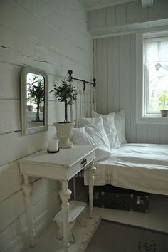 white rustic bedroom, but with yellow and pink flowers and mason jars