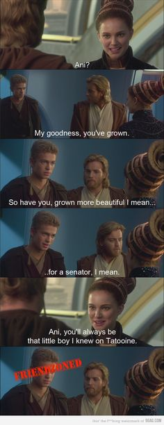 The best part of this whole movie is Ani's lame attempts at getting the girl and being a legit jedi.