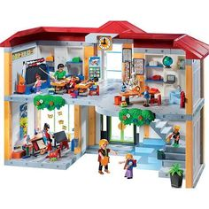 Playmobil 5923 Figure Set Furnished School Set by Playmobil. $189.99. CHOKING HAZARD - Small parts. Not for children under 3 yrs.. Recommended Age: 4 years and up. With the Small School, children can play the roles of the teachers and the students. The school building comes furnished with a classroom, science room, art and music room, and many other accessories. The time on the clock is adjustable and the chalkboard can be written on. The set also comes with ten figure...