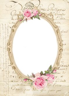 Frame with pink roses and writing.