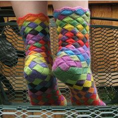 DIY Rainbow Color Patch Knitted Socks - HowToInstructions.Us