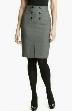 Halogen Button Trim Pencil Skirt in Gray (birdseye twill black combo) - Lyst Work Skirts, Cute Skirts, Dresses For Work, Skirt Outfits, Dress Skirt, Corset Dresses, Look Chic, Work Attire, Work Fashion