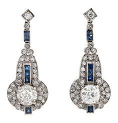 Art Deco platinum, sapphire and brilliant cut diamond earrings, circa 1925 - by Balclis Antique Earrings, Antique Jewelry, Vintage Jewelry, Diamante Art Deco, Gatsby, Sapphire And Diamond Earrings, Diamond Jewelry, Art Nouveau Jewelry, Art Deco Earrings