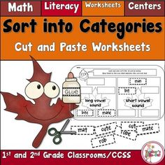 Fall Sort into Categories is for 1st and 2nd Grade Classrooms. There are 47 worksheets that include math or literacy skills. Students cutout the 10 tabs at the bottom of the worksheet. They sort the 10 tabs into 2 or 3 categories and glue them onto the empty boxes according to the category on the leaf. 47 worksheets. $