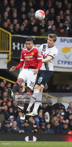 Jesse Lingard of Manchester United in action with Eric Dier of Tottenham Hotspur during the Barclays Premier League match between Tottenham Hotspur and Manchester United at White Hart Lane on April 10 2016 in London, England