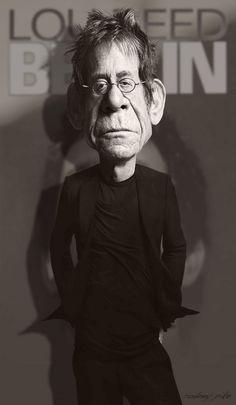 """Caricatura de Lou Reed.  ~ Ʀεƥɪииεð вƴ╭•⊰✿ © Ʀσxʌиʌ Ƭʌиʌ ✿⊱•╮Bellos ojos,???? mas bellos si ven bien. Controlate cada año, lee en nuestro blog """"Descansar frente a la PC"""""""