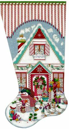 Melissa Shirley Designs | Hand Painted Needlepoint | Peppermint Stick House