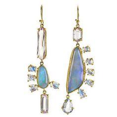 Playful mismatched opal earrings by Denver-based fine jewellery designer Margery Hirschey ⠀⠀⠀⠀⠀⠀⠀⠀⠀⠀⠀⠀⠀⠀⠀⠀⠀⠀⠀⠀⠀⠀⠀⠀⠀⠀⠀⠀ Opal Earrings, Drop Earrings, Fine Jewelry, Jewellery, Lightning Ridge, Denver, Jewelry Design, Lost, Jewels