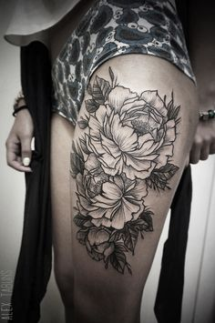 The delicate beauty & appearance of the Peony makes for a great tattoo subject.