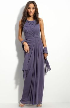 Free shipping and returns on Alex Evenings Knot Front Chiffon Gown at Nordstrom.com. A sleeveless scoop-neck gown is shaped by an off-center knot at the natural waistline, creating figure-flattering ruching throughout. A draped panel at the front partially conceals an alluring slit.