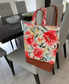 This beautiful home decor cotton material with the bright colorful floral patterns makes this bag a joy to sew and use. Floral Patterns, Everyday Bag, Pattern Making, Diaper Bag, Bright, Colorful, Tote Bag, Sewing, Cotton