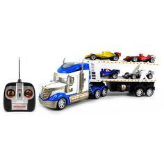 RS-8 Racing Trailer Electric RC Truck RTR w/ Toy F1 Cars (Blue) $29.95 www.paradiseinternetmall.net