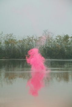 pink smoke - colour offset against desaturated background