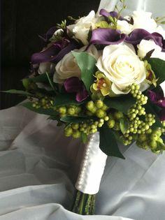 artificial white rose and purple calla lily bouquet