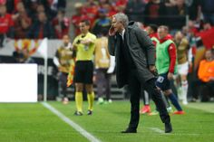 Manchester United's Portuguese manager Jose Mourinho shouts from the sidelines during the UEFA Europa League final football match Ajax Amsterdam v...