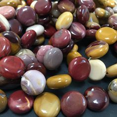 Mookaite Jasper Beads 14mm coin shaped semi precious by OzBeads