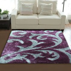 Purple Area Rug With Light Blue Pattern