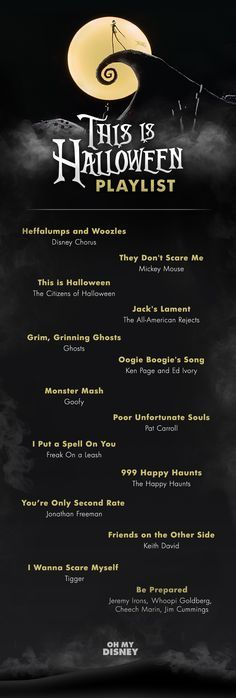 This is Halloween: A Super Spooky Playlist Perfect for All Hallow's Eve The big night is almost here! We've been prepping for Halloween by watching Hocus Pocus, The Nightmare Before Christmas, Halloween Town, and Frankenweenie on repeat, brushing up on ou Halloween Tags, Costumes Halloween Disney, Dulces Halloween, Halloween Infantil, Theme Halloween, Disneyland Halloween, Halloween 2018, Holidays Halloween, Happy Halloween