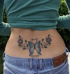 Butterfly Flowers Tramp Stamp