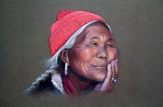 La vieille Tibétaine  Pastel de Monique Genain d'après une photo de Sylvain Lenglart