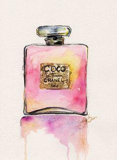 Chanel Perfume Bottle 8x10 Print of Original Watercolor Fashion Illustration
