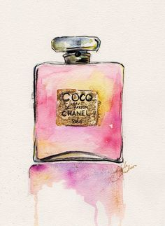 Chanel Perfume Bottle 8x10 Print of Original Watercolor Fashion Illustration