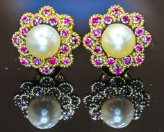 Splendid Ruby Pearl and Gold Cluster by BellmansOnlineStore, $950.00