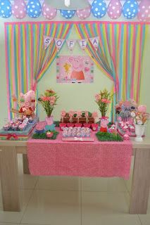 Inspire your Party ® Peppa Pig Birthday Decorations, Pig Birthday Cakes, 3rd Birthday Parties, 2nd Birthday, Fiestas Peppa Pig, Cumple Peppa Pig, Buffet Dessert, Pig Party, Cookies Et Biscuits
