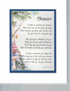 Sister Poem Sister Gift Sister Birthday Sister Present | Etsy