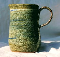 Pottery Mug, Stoneware clay,hi fired, cobalt blue and white slip decorated, Microwave and Dishwasher-safe, Wheel-Thrown by FireonClay on Etsy White Slip, Stoneware Mugs, Pottery Mugs, Cobalt Blue, Microwave, Dishwasher, Blue And White, Fire, Unique Jewelry