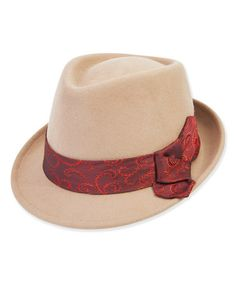 Another great find on #zulily! Camel & Red Satin Bow Wool-Blend Fedora #zulilyfinds