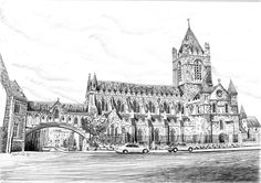 Christ Church Irish Art, Art For Sale, Dublin, Cathedral, Christ, How To Draw Hands, Drawings, Building, Prints