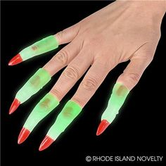 """3"""" GLOW-IN-THE-DARK MARTIAN FINGERS (72PC/UN) Make your Halloween extra creepy with these Glow in the Dark Martian Fingers! Just slide them over your fingers or share them with your friends in a Halloween goody bag. 72 pieces per unit. Ages 5+ #halloween #trickortreat #spookyfingers #costumeaccessories"""