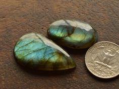 2 Pcs Natural Blue Fire Flash Labradorite Cabochon Handmade Jewelry Gemstone#176 #Thegemshop