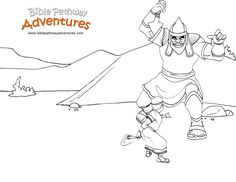 A coloring page for kids from the story, Facing the Giant. David fights the mighty giant, Goliath!
