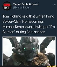 "Marvel Facts & News FACTS Tom Holland said that while filming Spider-Man: Homecoming, Michael Keaton would whisper ""I'm Batman"" during fight scenes - iFunny :) Avengers Memes, Marvel Memes, Marvel Facts, Batman Facts, Funny Relatable Memes, Funny Pics, Funny Captions, Funny Stuff, Dc Memes"