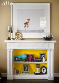 Bookshelf Mantel - Design Sponge featured this bookshelf fireplace.  You can read about how the homeowners attached a vintage mantel to a bookshelf to create a faux fireplace that was both dimmensional and functional.