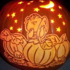 peanuts carved pumpkin