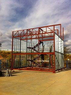 Pergola Attached To House Roof Metal Building Kits, Building A Tiny House, Steel Frame House, Steel House, Patio Roof Covers, Steel Framing, Hot Tub Pergola, Tiny House Builders, Building A Container Home