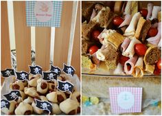 Party Food Idea  For sure- pigs in a blanket= scurvy dogs and goldfish and chips= fish and chips
