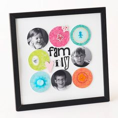 Use silly photos and bright patterned papers to create this gift. Decoupage the photos and papers onto wood discs and arrange them in rows on a sheet of white cardstock, leaving the middle open for a chipboard title. Give this fun display a shot of personality by embellishing with quirky accents.