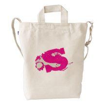 Custom Monogram Letter S Pink Initial BAGGU Bag Duck Canvas Bag