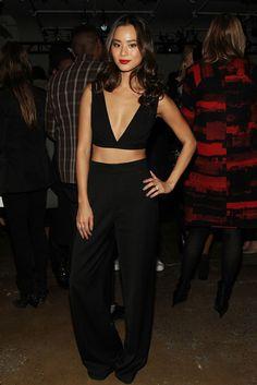 Look for Less: Jamie Chung's Cushnie et Ochs Fall 2014 Show Cushnie et Ochs Resort 2014 Cutout Crop Top and Wide Leg Trousers - The Fashion ...