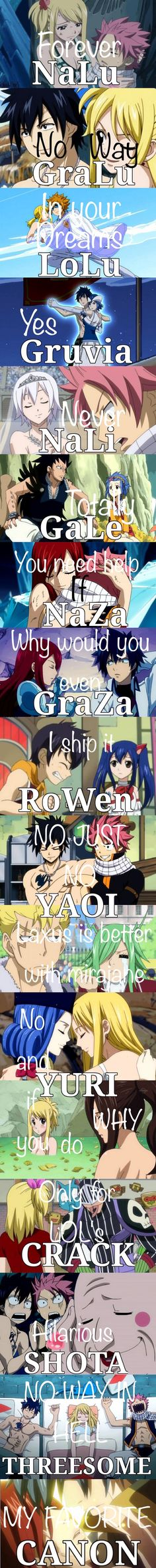 Some of them, like NaLu, GruVia, Gale and JeRza have been officially showed as canon, even subtly in the last chapter.